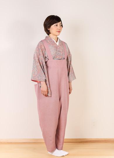 着物ズボンコーディネート桜色